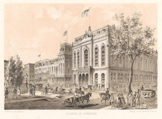 The first Chicago Chamber of Commerce building. Built 1865, Edward Burling & Co. Lithograph: Jevne & Almini, 1866-67.