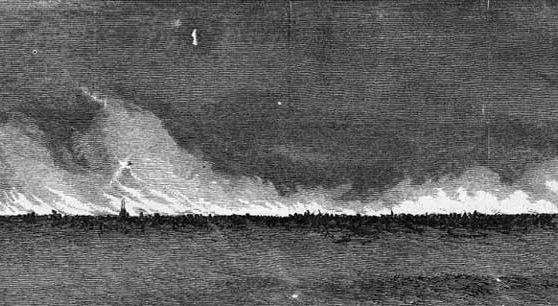 The Great Conflagration, as Seen from the Prairie. John R. Chapin, 1871, Harper's Weekly.