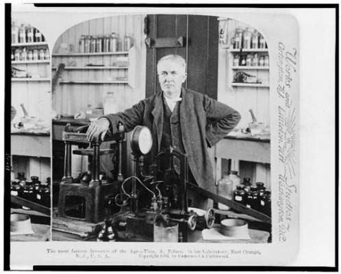 Thomas Edison in his lab