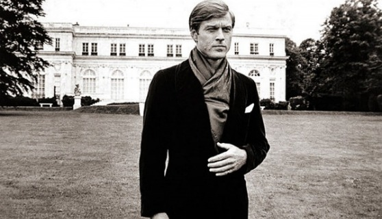 Robert Redford as Jay Gatsby on the lawn of Rosecliff in Newport.