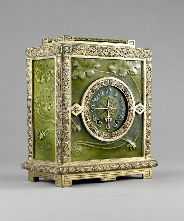 J. & J. G. Low Art Tile Works (American, 1877-1907). Clock, 1884. Glazed tile and gilt bronze. Photograph by John Faier for the Richard H. Driehaus Museum, 2013.