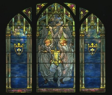 Ecclesiastical Angels, ca. 1890. Tiffany Studios (American, 1902-1932). Favrile glass. Exhibited in the Richard H. Driehaus Stained Glass Collection at Navy Pier.
