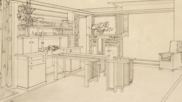 Frank Lloyd Wright, Detail of Thaxter Shaw House Living Area, 1906.