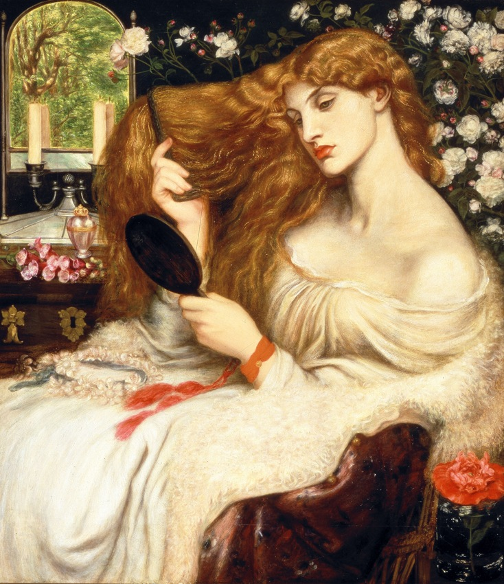 Dante Gabriel Rossetti (English, 1828–1882), Lady Lilith, 1866–8. From the exhibition Pre-Raphaelites: Victorian Avant-Garde, the collection of the Delaware Art Museum, Samuel and Mary R. Bancroft Memorial 1935.