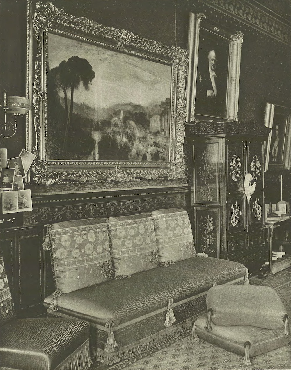 "BOUDOIR. Second Floor—North-East Corner. In the foreground, Turner's Fountain of Indolence, ""by far the largest and most important Turner in America. It was first exhibited at the Royal Academy in 1834, and was obtained in 1882 from the dealers Agnew & Sons."""