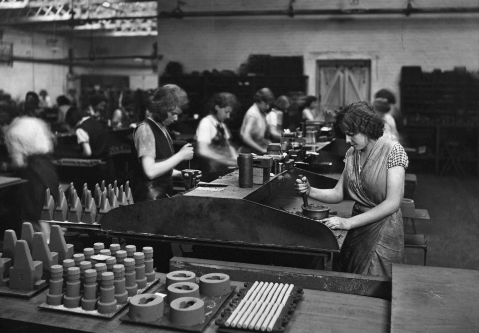 Women working in the Leys Malleable Castings Company in England, 1930s. Image via The Daily Mail.