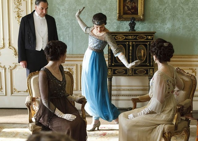 Downton Abbey's Lady Sibyl models exotic Turkish-style harem pants, much to the shock of her parents and grandmother. ©Carnival Films / Masterpiece