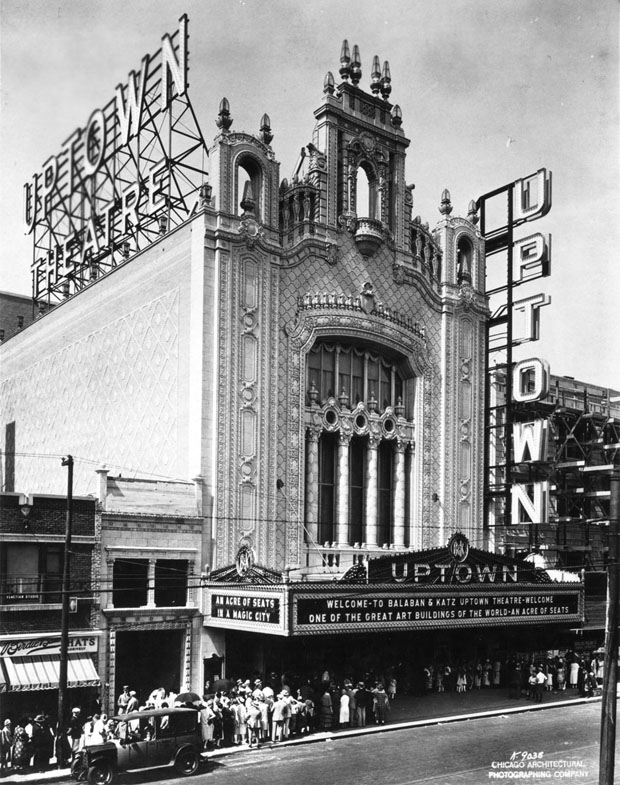 The Uptown Theatre in Chicago. Image courtesy the Theatre Historical Society of America, via WBEZ's Curious City.