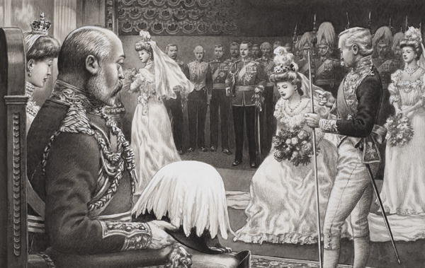 Debutantes being presented to Edward VII and Queen Alexandra.