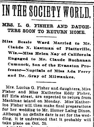 Fisher Family History-Katherine Fisher to Marry Homer Dixon-Trib6Sept1906
