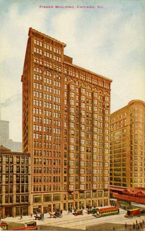 postcard-chicago-fisher-building-streetcars-elevated-carriages-early