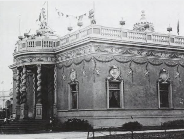 Puck Building. Image from digitized record of The Chicago World's Fair of 1893: A Photographic  Record, Photos from the Collections of the Avery Library of Columbia University and the Chicago Historical Society by Stanley Appelbaum, 1980.