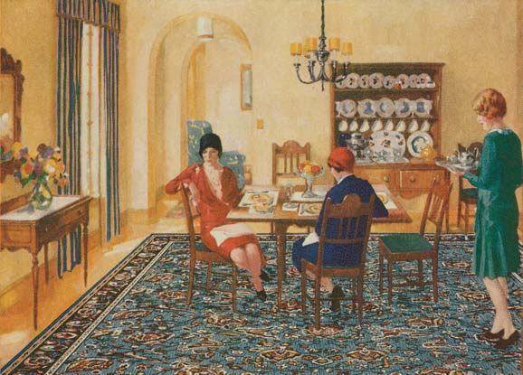 Linoleum became increasingly recognized as an inexpensive and easy-to-clean decorative material for dining rooms, passages, and kitchens. This illustration from the 1920s advertises an attractively painted linoleum rug.