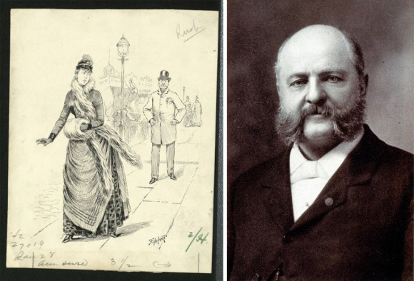 "Right: Original ink drawing for ""A Dreadful Predicament"" by Samuel D. Ehrhart. Left: Anthony Comstock. By Photographer unknown; author of book Charles Gallaudet Trumbull [Public domain], via Wikimedia Commons."