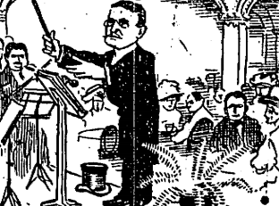 "Johnny Hand conducting his orchestra. Chicago Daily Tribune, ""Round About Chicago: Johnny Hand,"". September 15, 1910. The paper noted, ""Nobody that was anybody could think of  giving a party until they knew if they could get Johnny Hand to play."""