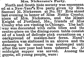 "The Chicago Daily Tribune, ""Mrs. Nickerson's Party,"" January 1, 1891."