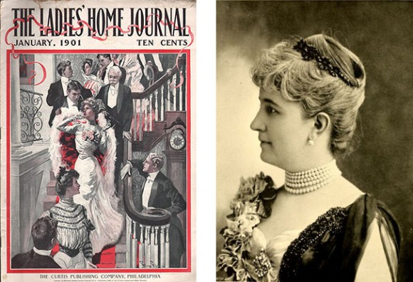 Left: Cover of Ladies Home Journal from January 1901 Right: Bertha Honoré Palmer. From Address and Reports of Mrs. Potter Palmer, 1894.