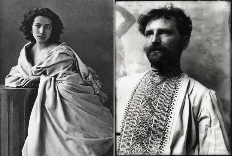 L: Sarah Bernhardt, about 20 years old in ca. 1864 (Photo by Nadar).  R: Alphonse Mucha, self-portrait in his studio, TK.