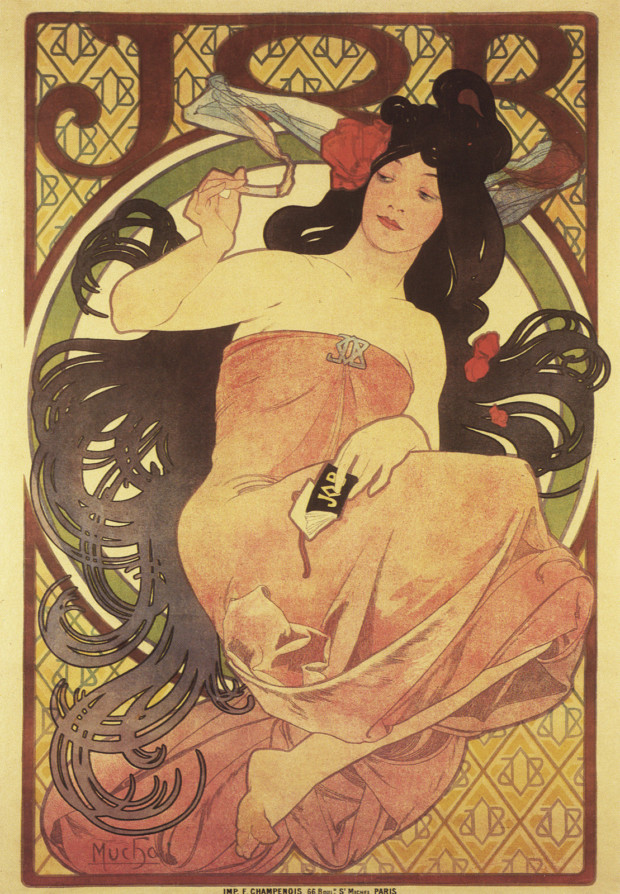 Another poster for Job cigarette papers by Alphonse Mucha, this one from 1897.