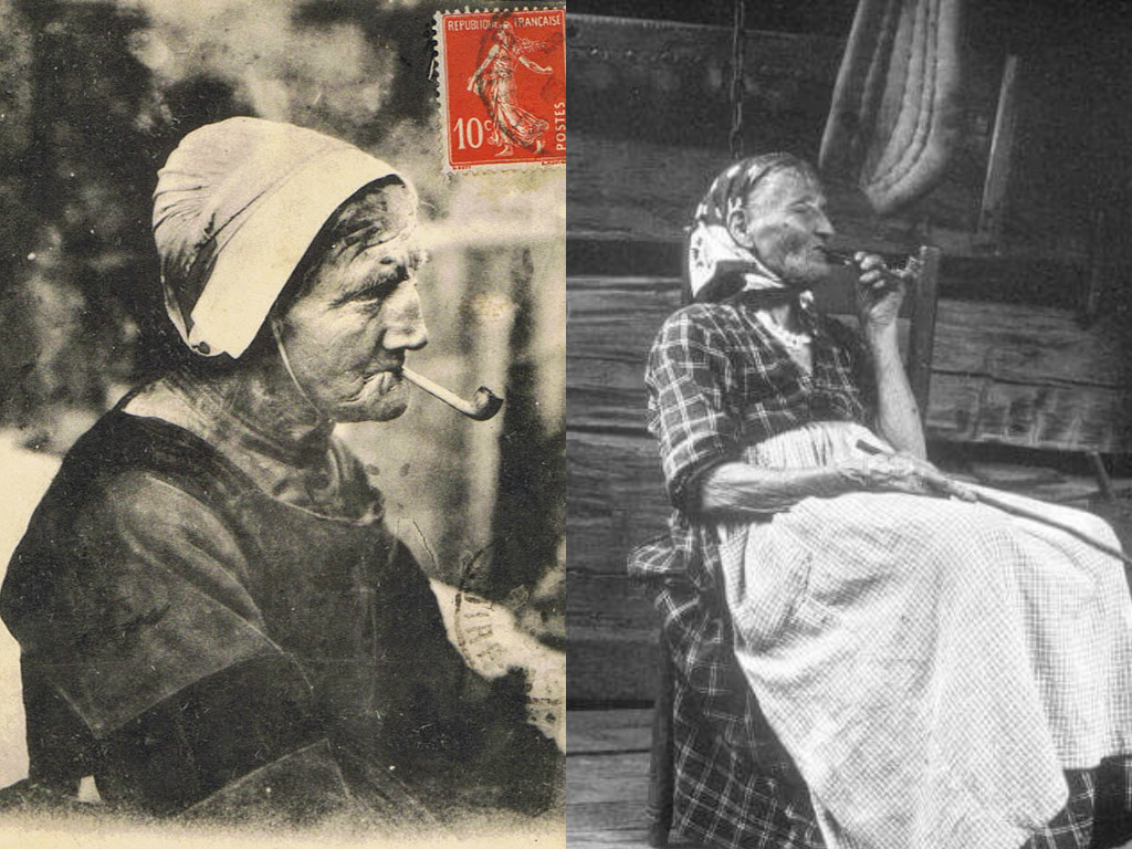 Left: Postcard depicting a woman in the French region of Brittany, smoking a pipe. Right: Historic photograph of a woman in the Appalachian region of the United States, smoking a pipe.