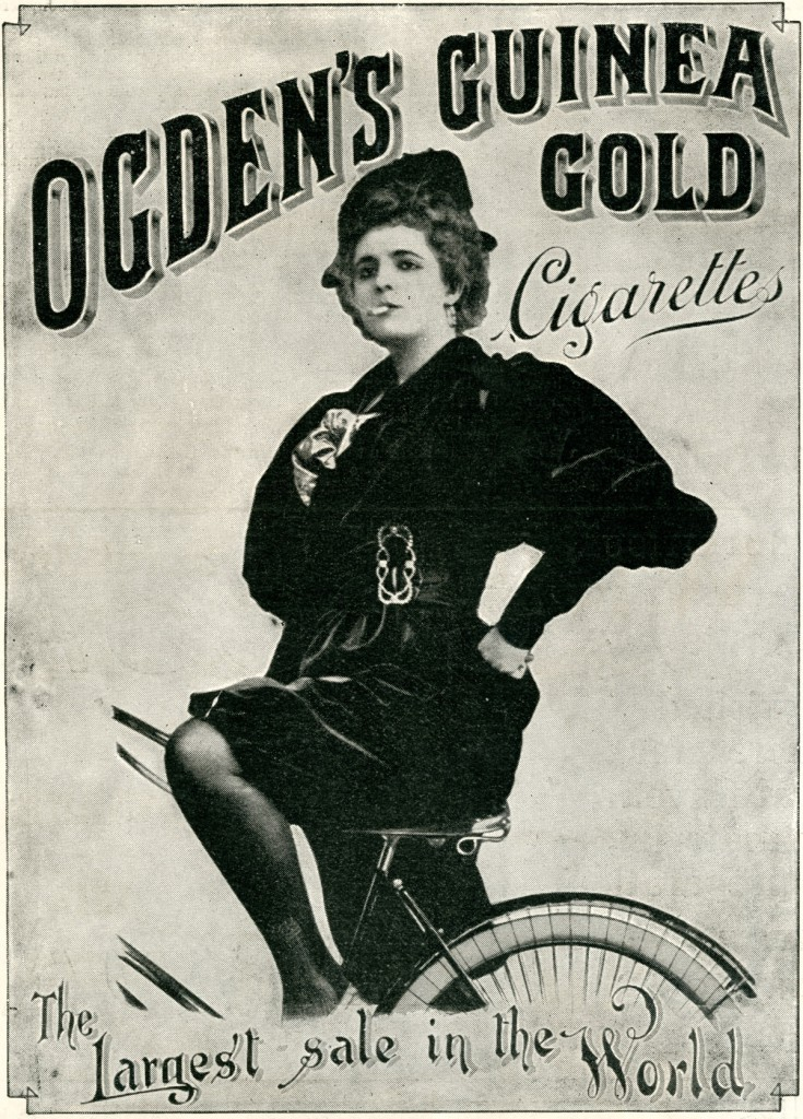 A 1900 advertisement for Ogden's Guinea Gold Cigarettes, showing a woman on a bicycle in a more positive light. This New Woman is empowered and confident.