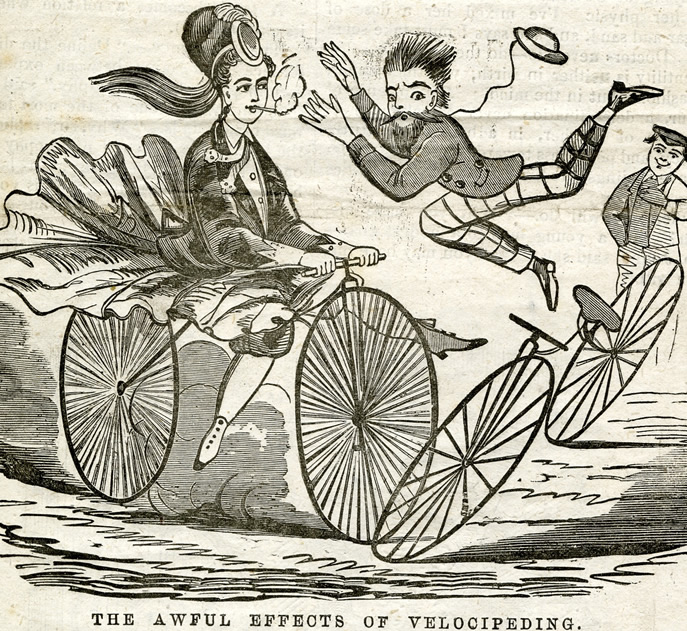 Cartoon from the 1890s showing a bohemian woman riding a bicycle and smoking a cigarette, wreaking havoc. The sentiment is that women would not be able to handle the same freedoms as men, and would endanger society.