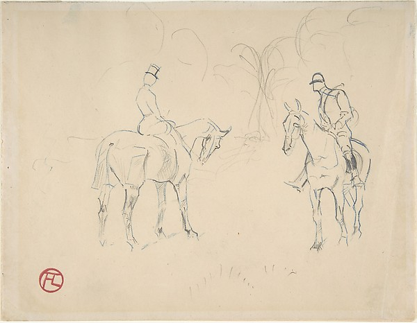 Henri de Toulouse-Lautrec (French, 1864–1901). A Woman and a Man on Horseback, 1879-81. The Metropolitan Museum of Art.