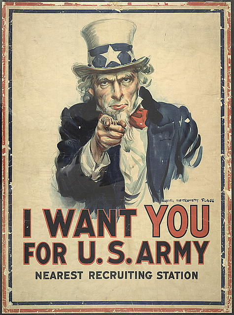 James Montgomery Flagg (American, 1877–1960), I want you for U.S. Army: nearest recruiting station, c. 1917. From the Library of Congress Print & Photographs Division, POS US .F63.