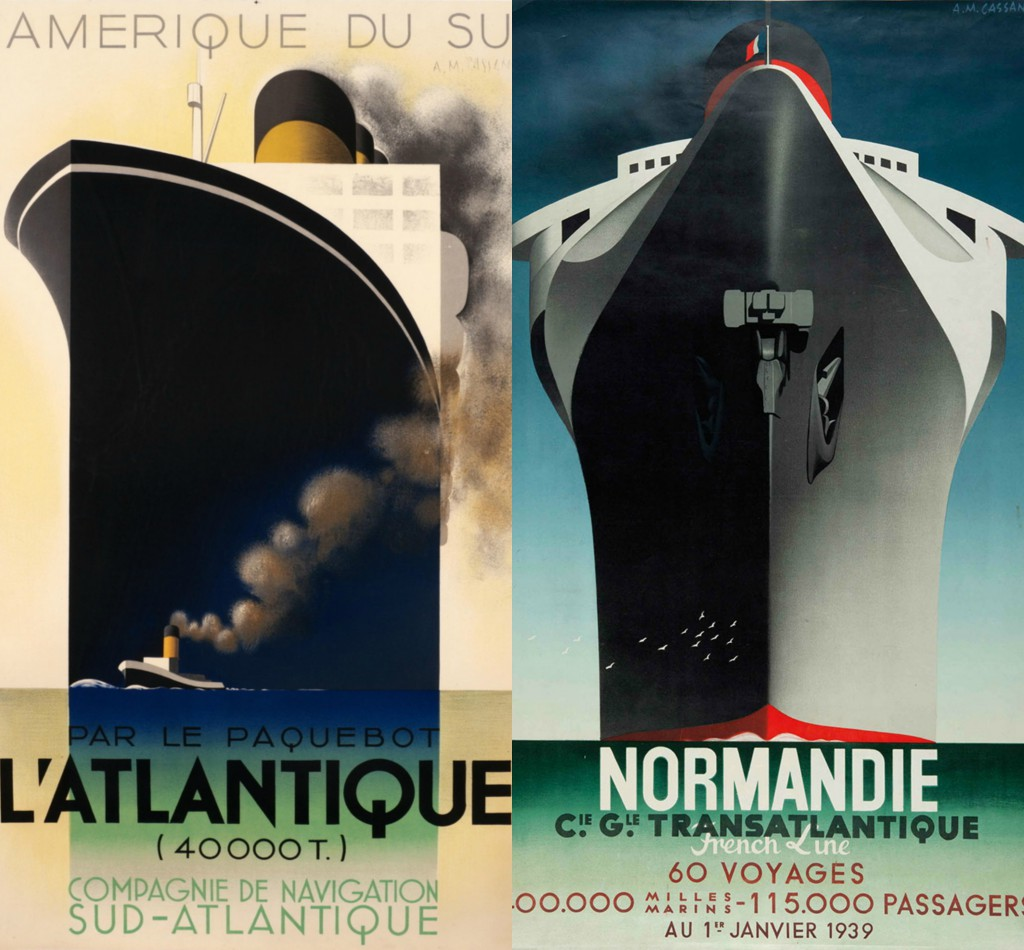A.M. Cassandre (born Ukraine, 1901–1968). Left: L'Atlantique, 1931. RIght: Normandie, 1935. Christie's Posters sale, 8 June 2014 and 4 November 2015, London.
