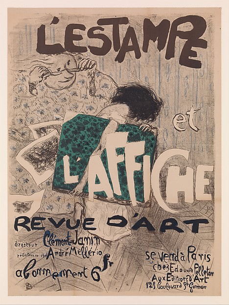 Pierre Bonnard, L'Estampe et l'Affiche, 1897. The Metropolitan Museum of Art, New York. In this poster, which was commissioned from Bonnard by publisher André Mellerio to advertise the publication by the same name, the elderly woman personifies the older, traditional black-and-white poster peering suspiciously at the wild-haired bohemian youth representing the new color poster.