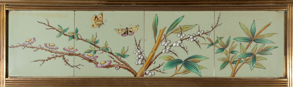 Detail of the Japanesque fireplace surround tiles in Roland Nickerson's bedroom in the Driehaus Museum. Photo by Michael Monar, (c) The Driehaus Museum.