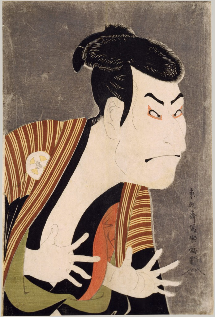 An example of a kabuki theatre print. Kabuki Actor Ōtani Oniji III as Yakko Edobei in the Play The Colored Reins of a Loving Wife (Koi nyōbō somewake tazuna), by Tōshūsai Sharaku (Japanese, active 1794–95), 1794. The Metropolitan Museum of Art, JP2822.
