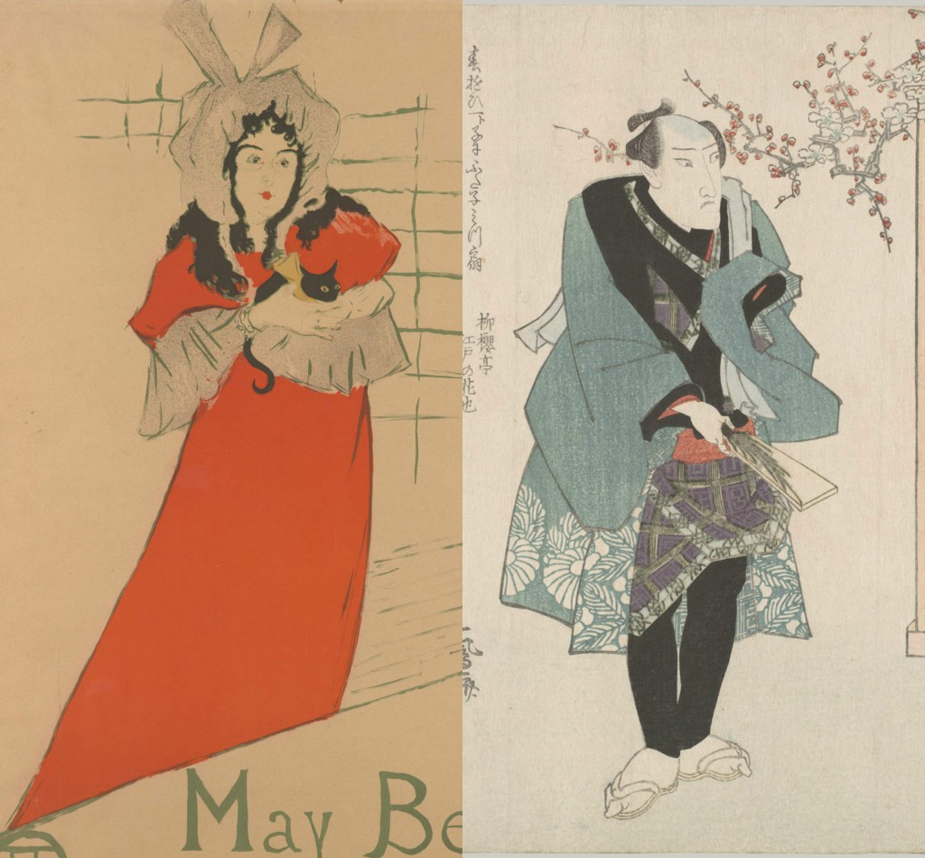"Side-by-side images showing how Henri de Toulouse Lautrec imitated the compositions and postures he found in Japanese kabuki theatre prints. (Left, ""May Belfort"" by Lautrec, 1895. Right, one print from a series called ""Three Kabuki Actors  Playing Hanetsuki"" by Utagawa Kuniyasu (Japanese, 1794–1834), ca. 1823. Both from the collection of the Metropolitan Museum of Art, 41.12.1 and 2001.715.4a–c."