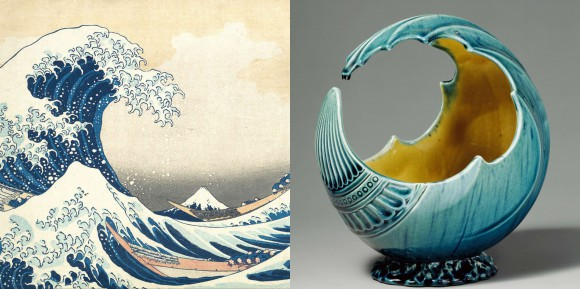 "At left, the famous woodblock print by Japanese ukiyo-e artist Hokusai (""The Great Wave off Kanagawa,"" ca. 1829-32). At right, glazed earthenware Wave Bowl by British designer Christopher Dresser, ca. 1880, echoes the curve of Hokusai's wave."