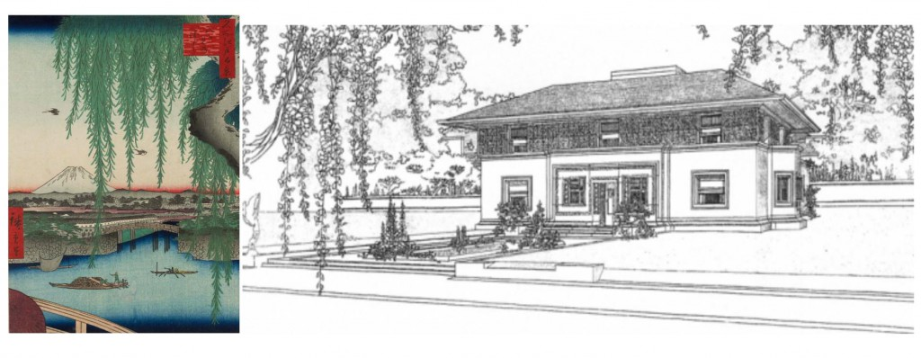 At left, a print by great Japanese ukiyo-e printmaker Ando Hiroshige seems to have provided a reference for American architect Frank Lloyd Wright's choice to frame his elevation drawing of the Winslow House in River Forest, Illinois, with draping vegetation in 1910.