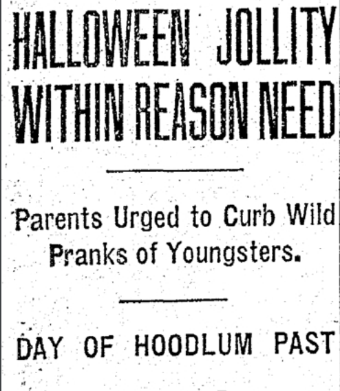 1930s newspaper headline in The Oregonian, in which columnist Marian Miller advocating for a safer Halloween holiday. To read the full article, click here.